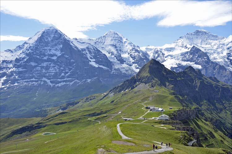Looking towards the Eiger, Monch and Jungfrau