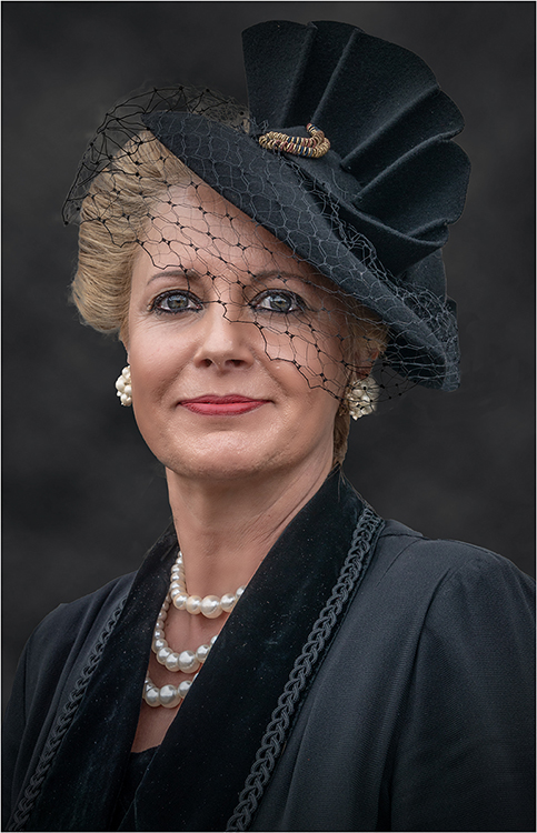 Colour Portrait 3rd Place: Lady in Black by Steve Bavill